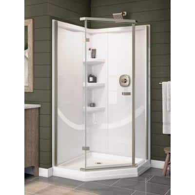 38 in W x 73.88 in H 2-Piece Direct-to-Stud Corner Shower Wall Surround in White