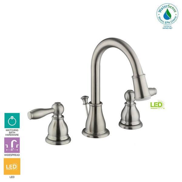 2 Handle Led High Arc Bathroom Faucet, Bathroom Faucets Widespread Brushed Nickel