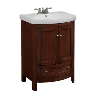 24 in. W x 19 in. D x 34 in. H Vanity in Walnut with Vitreous China Vanity Top in White and White Basin