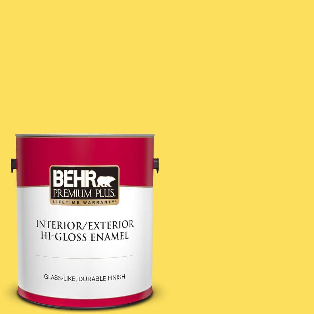 Behr Premium Plus 1 Gal 380b 5 Neon Light Hi Gloss Enamel Interior Exterior Paint 830001 The Home Depot