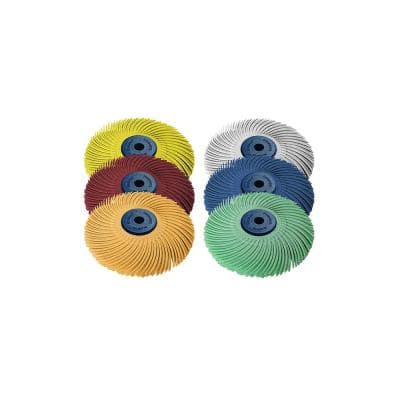 Sunburst 3 in. x 1/4 in. 3-Ply Radial Discs Assortment Arbor Thermoplastic Cleaning and Polishing Tool (6-Piece)