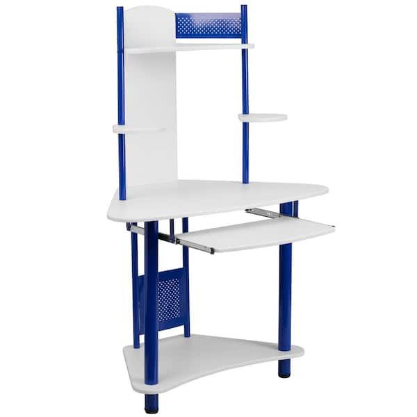 White Corner Computer Desk With Hutch, Flash Furniture Computer Desk