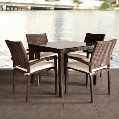 Liberty 5-Piece Patio Dining Set with Beige Cushions