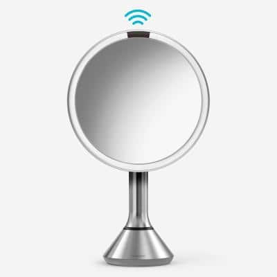 8 in. Lighted Sensor Mirror with Touch Control Brightness, Brushed Stainless Steel