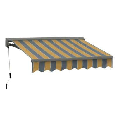 8 ft. Classic C Series Semi-Cassette Manual Retractable Awning (79 in. Projection) in Yellow/Gray Stripes