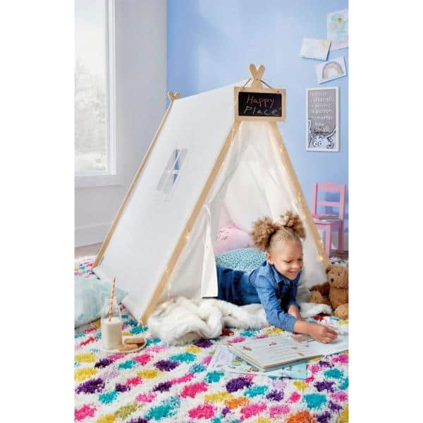 South Shore Sweedi Organic Cotton And Pine Play Tent With Chalkboard 100369 The Home Depot