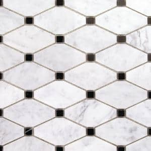 Diapson White Carrara and Black 11.87 in. x 13 in. Polished Marble Mosaic Tile (1.07 sq. ft./Sheet)
