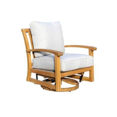 Heritage Collection Swivel Teak Outdoor Lounge Chair with Grey Cushions