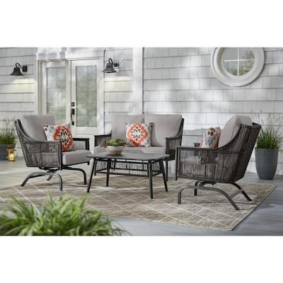 Bayhurst Black Wicker Outdoor Patio Loveseat with CushionGuard Stone Gray Cushions