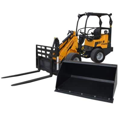 Compact Articulated Wheel Loader with Pallet Fork and 48 in. Light-Material All-Purpose Bucket