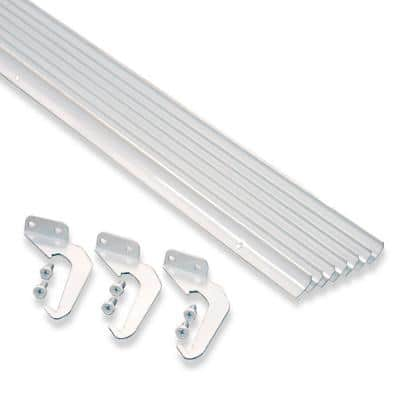 4 in. x 5 ft. White Aluminum RH-Plus with Brackets and Screws