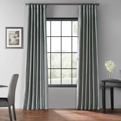 Storm Grey Textured Rod Pocket Blackout Curtain - 50 in. W x 96 in. L