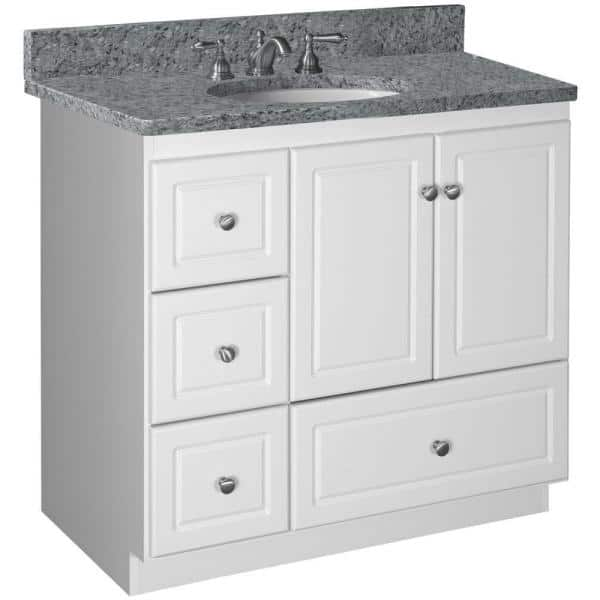 Simplicity By Strasser Ultraline 36 In W X 21 In D X 34 5 In H Vanity Cabinet Only With Left Drawers In Satin White 01 300 2 The Home Depot