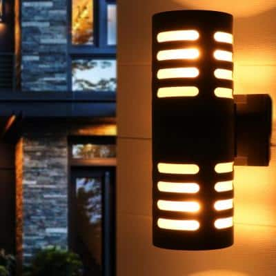 11.75 in. 2-Light Black Die-Cast Aluminum Cylinder Outdoor Wall Sconce