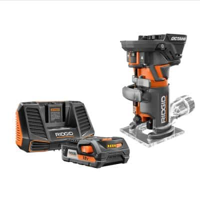 RIDGID 18-Volt OCTANE Cordless Brushless Compact Fixed Base Router w/ 18-Volt Lithium-Ion 2.0 Ah Battery Pack and Charger Kit