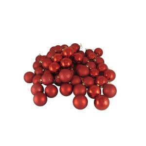 Red Hot 4-Finish Shatterproof Christmas Ball Ornaments (24-Count)