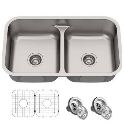 Premier Undermount Stainless Steel 32 in. 16-Gauge 50/50 Double Bowl Kitchen Sink