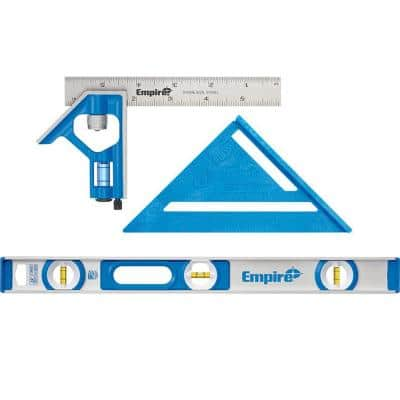 6 in. Pocket Combination Square and 7 in. Polycast Rafter Square with 24 in. Aluminum I-Beam Level