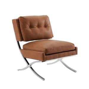 Sally Cognac Tufted Faux Leather Accent Side Chair with X-Crossed Metal Legs