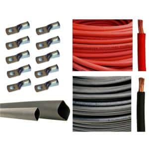 50 ft. 2 AWG 10-Piece of 3/8 in. Tinned Copper Cable Lug Terminal Connectors and 3 ft. Heat Shrink Tubing