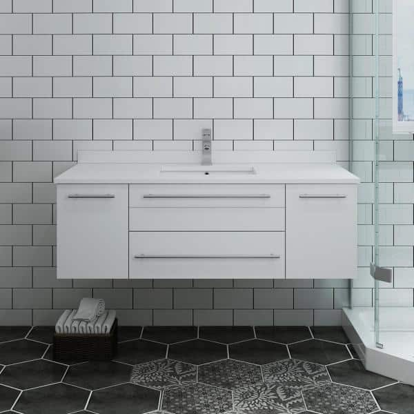 Fresca Lucera 48 In W Wall Hung Bath Vanity In White With Quartz Stone Vanity Top In White With White Basin Fcb6148wh Uns Cwh U The Home Depot