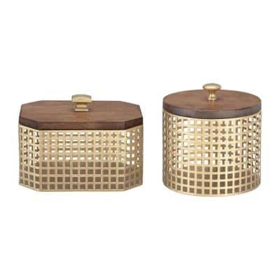 Round and Octagonal Gold Metal Decorative Basket with Wood Lid (Set of 2)