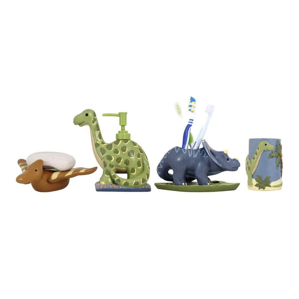 Modona Dinosaur 4 Piece Kids Bathroom Accessories Set In Blue Green And Brown Bs Ds A The Home Depot