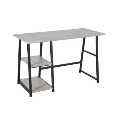 Mcghee 47.4 in. Gray Computer Desk With 2 Tier Shelves Writing Table With Storage,Sandstone Trestle Desk