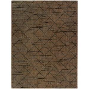 Trellis Chocolate Brown 9 ft. x 12 ft. Indoor/Outdoor Area Rug