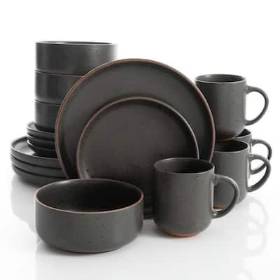 Black Sand 16-Piece Contemporary Black Terra Cotta Dinnerware Set (Service for 4)