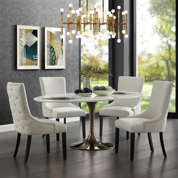Inspired Home Piper Cream White Linen, White Linen Dining Room Chairs