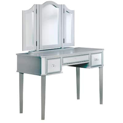 Arriana 2-Piece Silver Tri-Fold Mirror Vanity Set