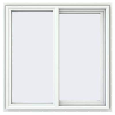 35.5 in. x 35.5 in. V-4500 Series White Vinyl Right-Handed Sliding Window with Fiberglass Mesh Screen