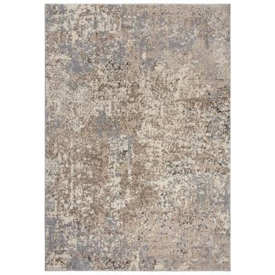 Venice Cream/Taupe 7 ft. 10 in. x 9 ft. 10 in. Abstract Area Rug