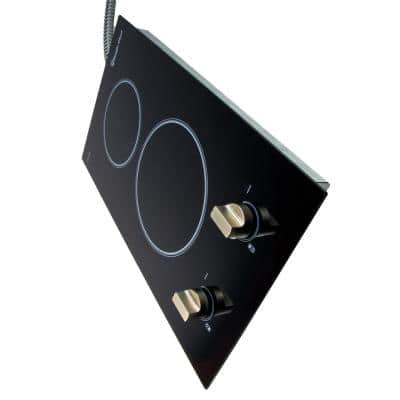 12 in. Radiant Electric Ceramic Glass Cooktop in Black with 2 Elements Including Dual Radiant Element