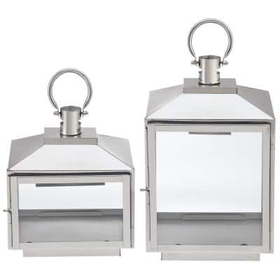 Silver Stainless Steel Candle Hanging or Tabletop Lantern (Set of 2)