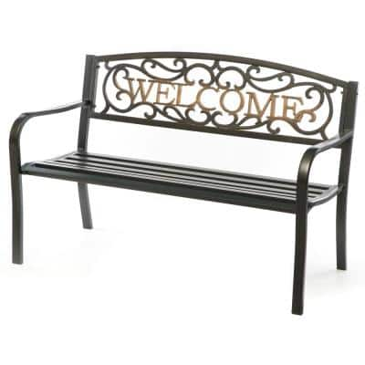"""Steel Outdoor Patio Garden Park Bench with Cast Iron """"Welcome"""" Backrest"""
