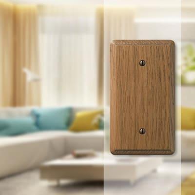 Contemporary 1 Gang Blank Wood Wall Plate - Medium Oak