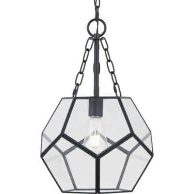 Wianno 1-Light Matte Black Pendant with Clear Bound Glass Shade