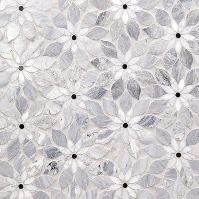 Thistle Blue 12.4 in. x 14.13 in. Polished Marble Mosaic Tile (1.21 sq. ft./Sheet)