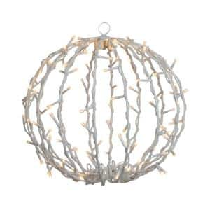 13 in. LED Lighted Christmas Hanging Ball Decoration - Warm White Lights
