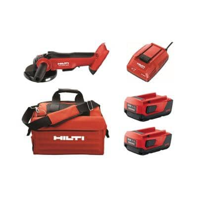 AG 500 22-Volt Cordless Brushless 5 in. Angle Grinder Kit with (2) 4.0 Lithium-Ion batteries, charger and bag