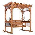 3-Person Wood Patio Pergola Swing in Cedar