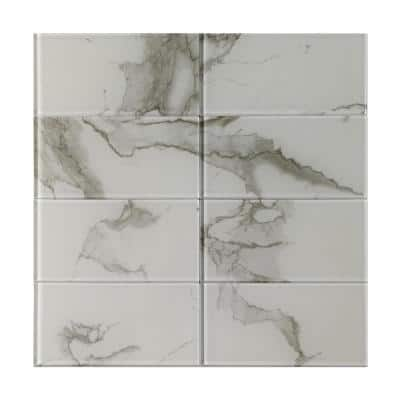 6 in. D x 3 in. W x 1/6 in. H Peel and Stick Glass Backsplash Tile for Kitchen in White Subway Tile