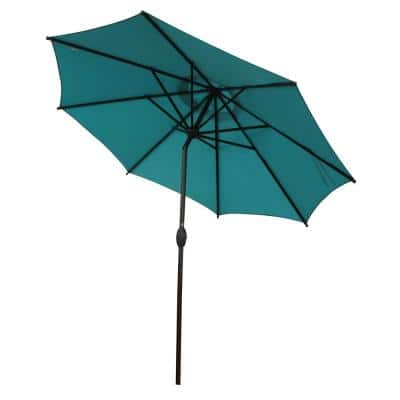9 ft. Outdoor Market Umbrella with Push Button Tilt and Crank Patio Umbrella 8 Ribs in Turquoise