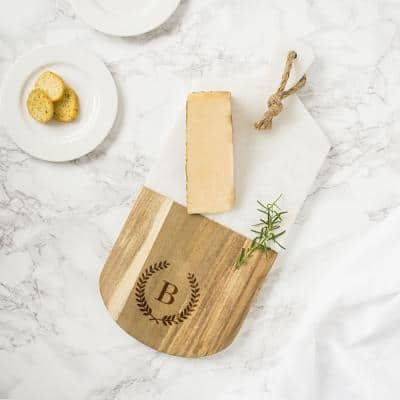 Personalized Marble and Acacia Serving Board
