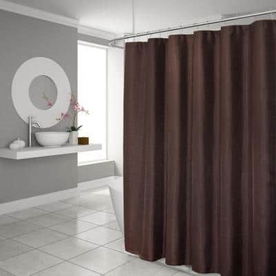 Hotel Waffle 70 in. x 72 in. Brown Classic Shower Curtain