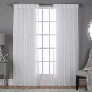 Winter White Linen Pinch Pleat Sheer Curtain - 30 in. W x 96 in. L (Set of 2)