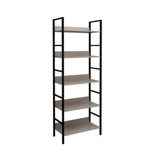 63 in. Black/Beige Metal 5-shelf Etagere Bookcase with Open Back