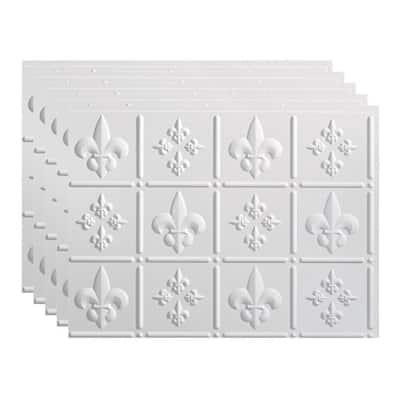 Fleur de Lis 18 in. x 24 in. Gloss White Vinyl Decorative Wall Tile Backsplash 15 sq. ft. Kit